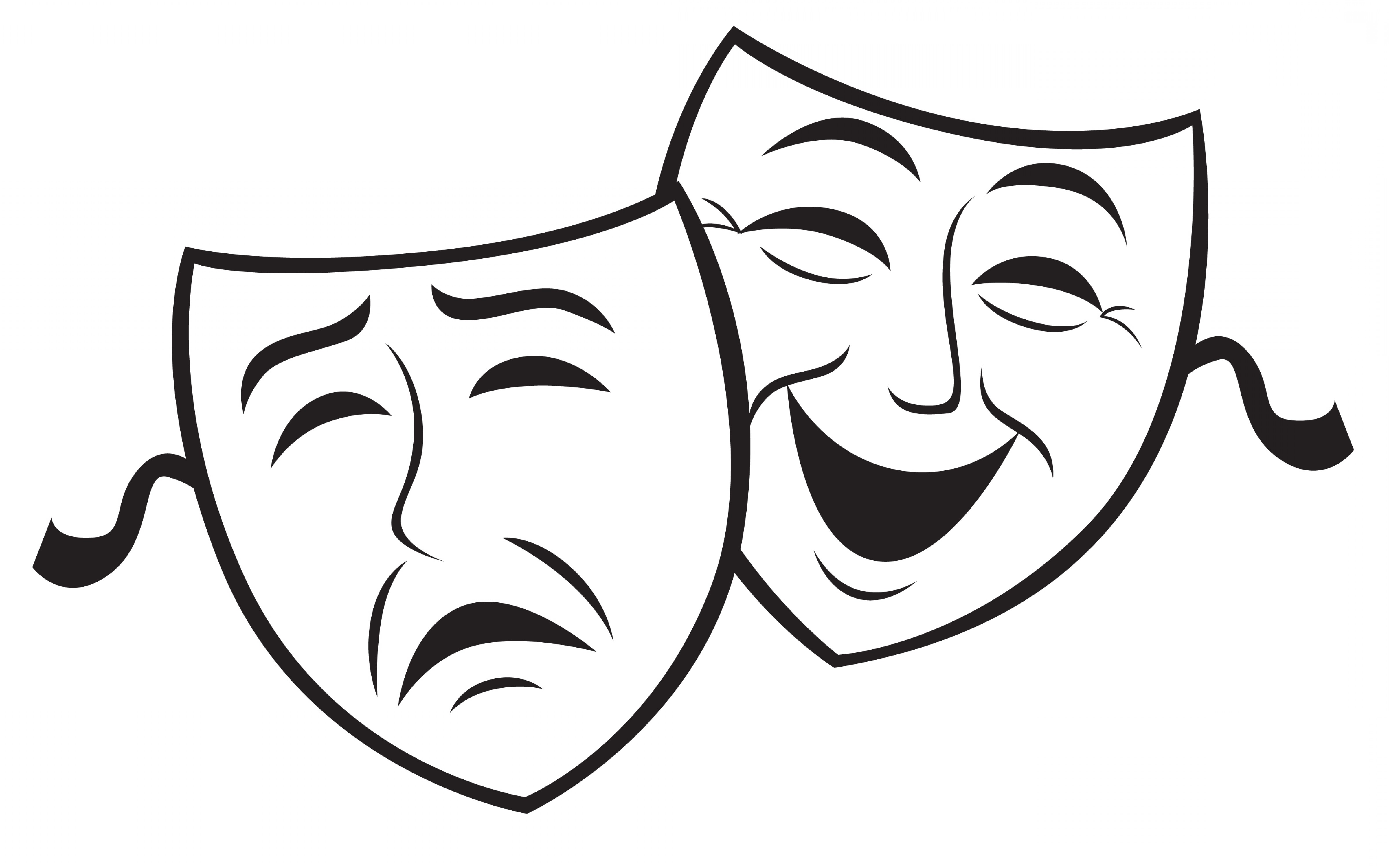 mask black and white clipart