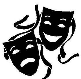 280x273 Black And White Drama Masks Black And White Clipart