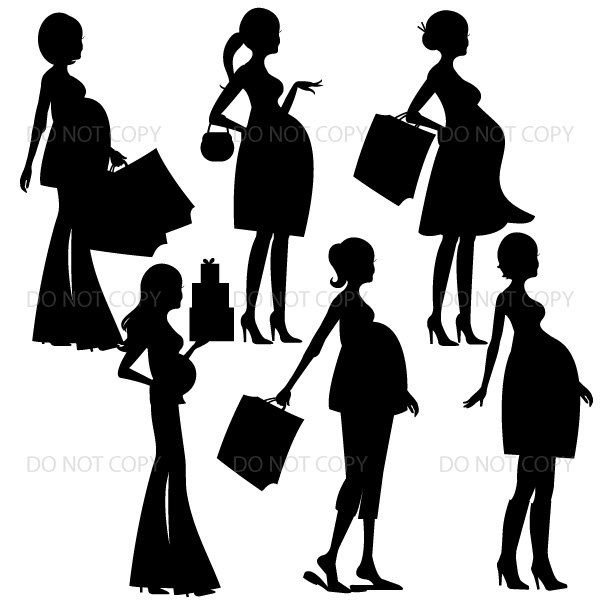 600x600 Pregnant Woman Silhouette Clipart, Pregnant Mom Silhouette