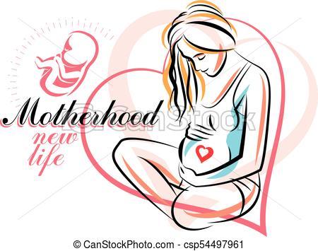 450x355 Pregnant Woman Elegant Body Silhouette, Sketchy Vector Clip Art