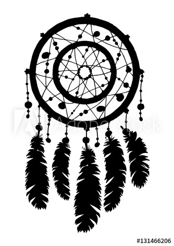 354x500 Dream Catcher Silhouette In Black Color Isolated On White