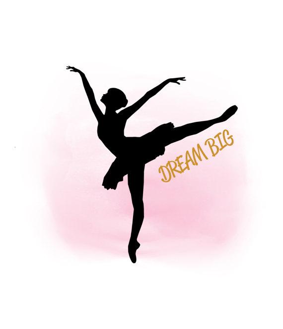 570x664 Dream Big Ballerina Svg Clipart Ballet Girl Quote Word Art