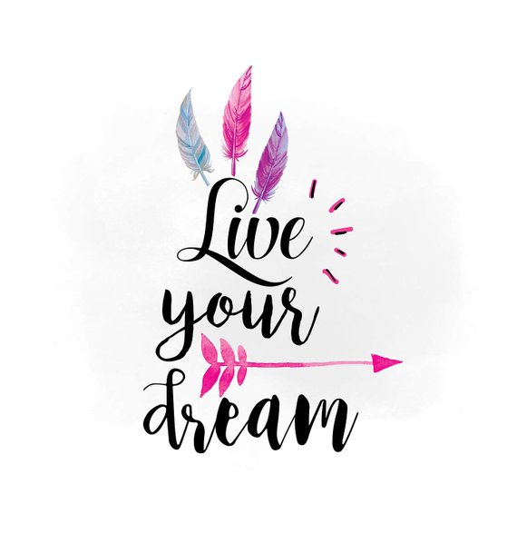 570x609 Live Your Dream Svg Clipart, Boho Feathers Arrow Clipart, Dream