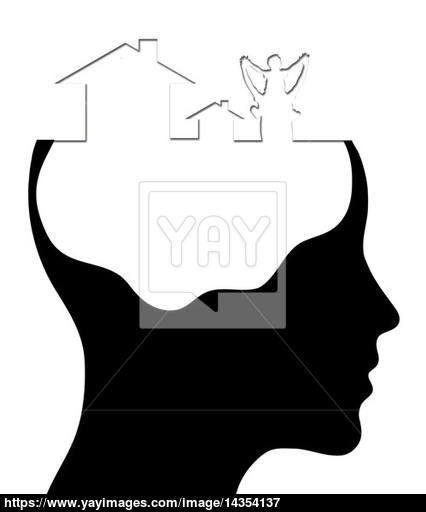 426x512 A Concept For Dream Home, Where Thinking Head Silhouette Is Show