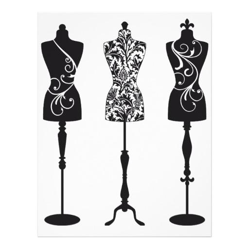 512x512 Vintage Fashion Mannequins Silhouettes Letterhead Fashion