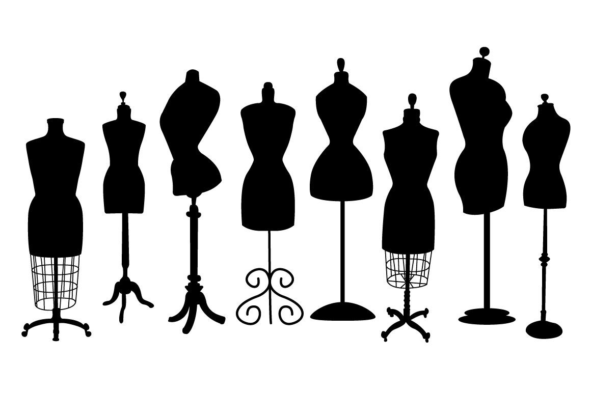 1160x772 Vintage Dress Form Clip Art Silhouettes, Dress Form And Sewing Rooms