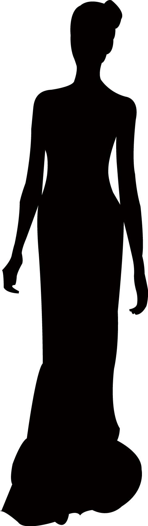 488x1724 Woman Long Dress Silhouette Wall Decal Wallmonkeys