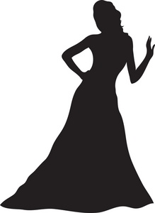 219x300 Woman Silhouette In Gown Clipart