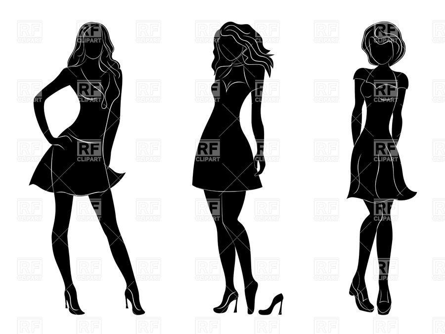 900x675 Black Silhouettes Of Slim Women In Different Dresses Royalty Free