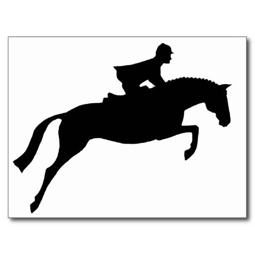512x512 Jumper Horse Silhouette Post Cards