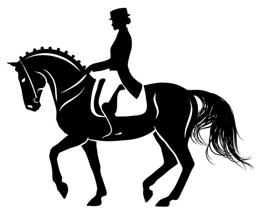 550x431 Detailed Silhouette Of A Dressage Horse Performing Piaffe Posters