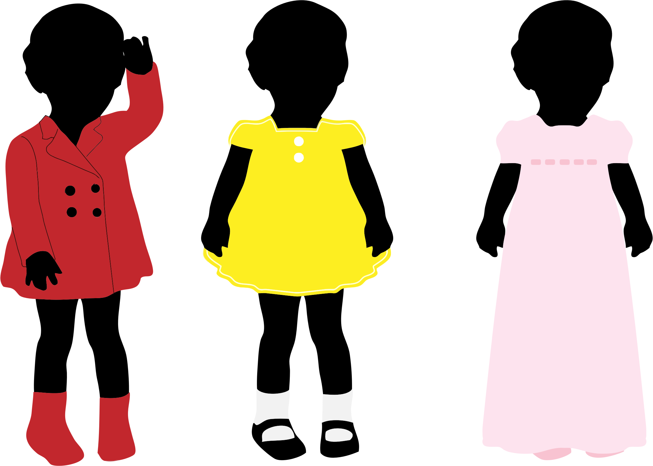 2224x1588 3 Girls Wearing Colorful Dresses Silhouette Icons Png