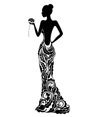 380x400 Girl In A Dress With Floral Ornament Vector 1288466