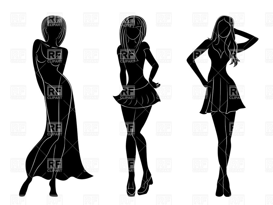 900x675 Black Silhouettes Of Slim Attractive Women In Different Dresses