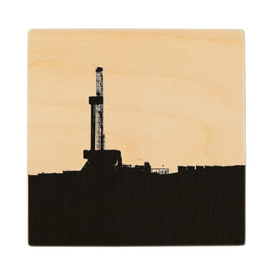 540x540 Oil Drilling Rig Silhouette Wooden Coaster