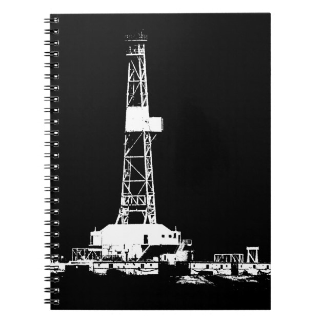 630x630 Oilfield Oil Drilling Rig Silhouette Notebook