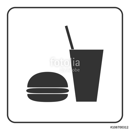 500x500 Food And Drink Icon. Fast Nutrition Hamburger, Soda Signs. Black