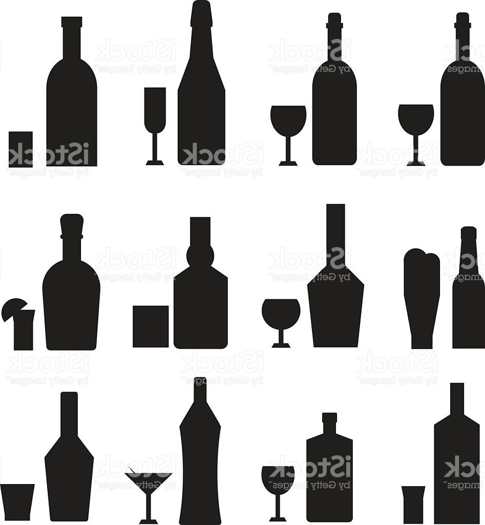 947x1024 Hd Different Alcohol Drink Bottles Black Silhouette Vector File