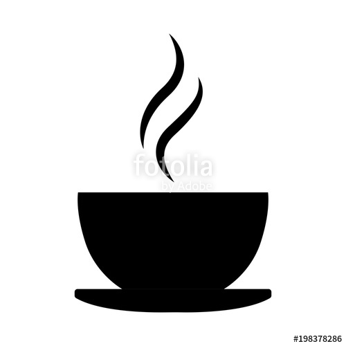 500x500 Simple, Black Coffee Cup Silhouette Iconlogo. Hot Drink Icon