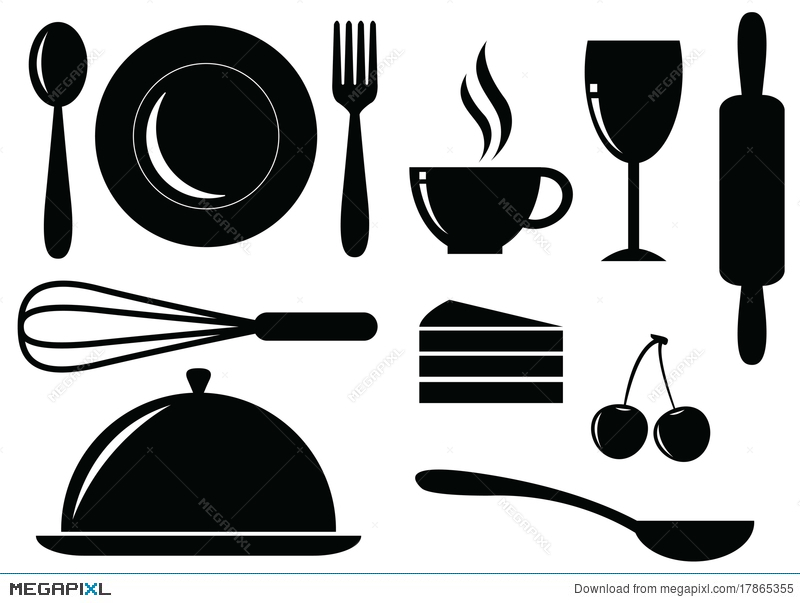 800x603 Vector Silhouette Of Food,drink,bakery And Coffee Illustration