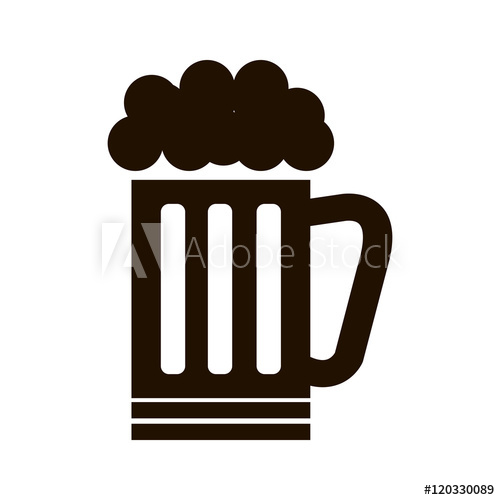 500x500 Beer Mug Drink With Foam. Beverage Alcohol. Silhouette Vector