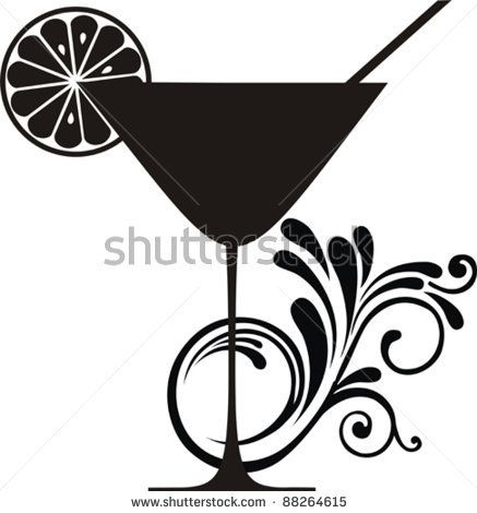 437x470 Cocktail Drink. Silhouette Isolated On White Background. Drink