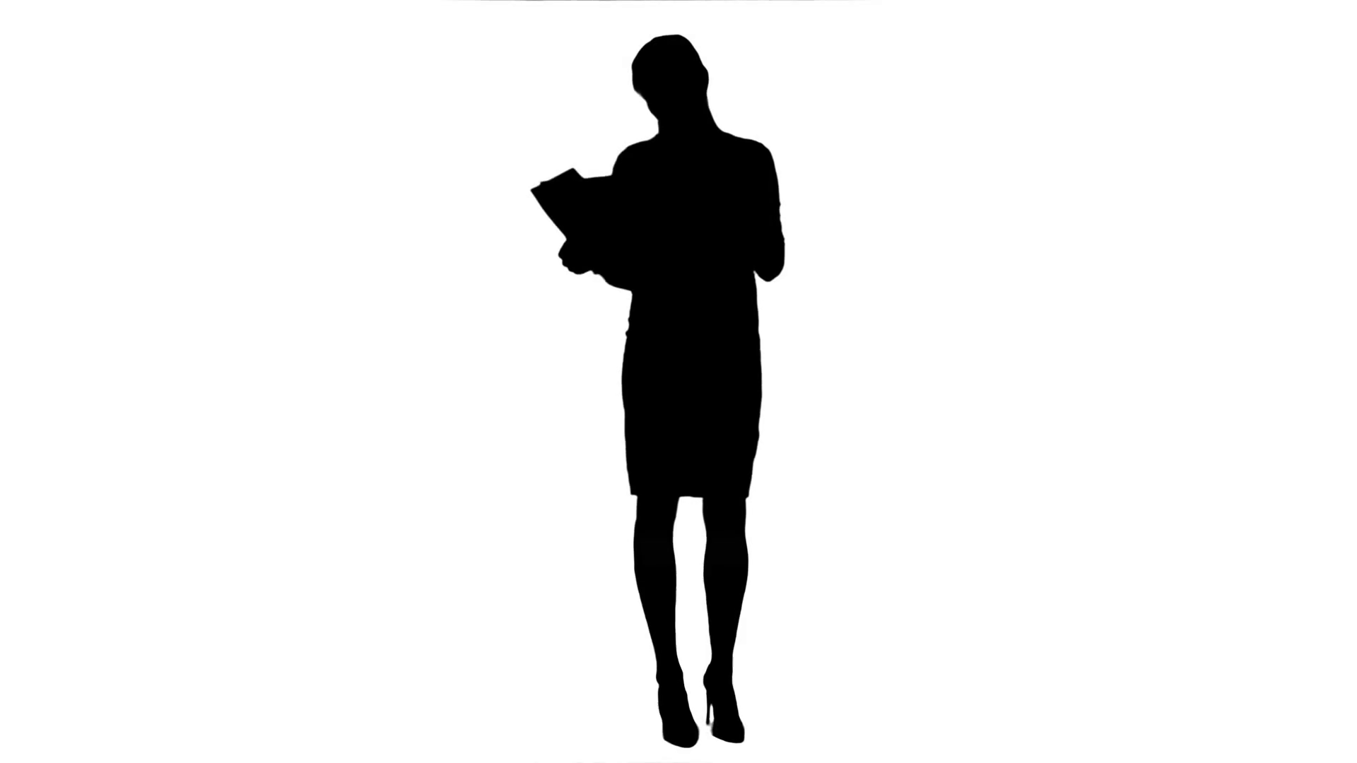 1920x1080 Silhouette Young Businesswoman Reading Documents While Drinking