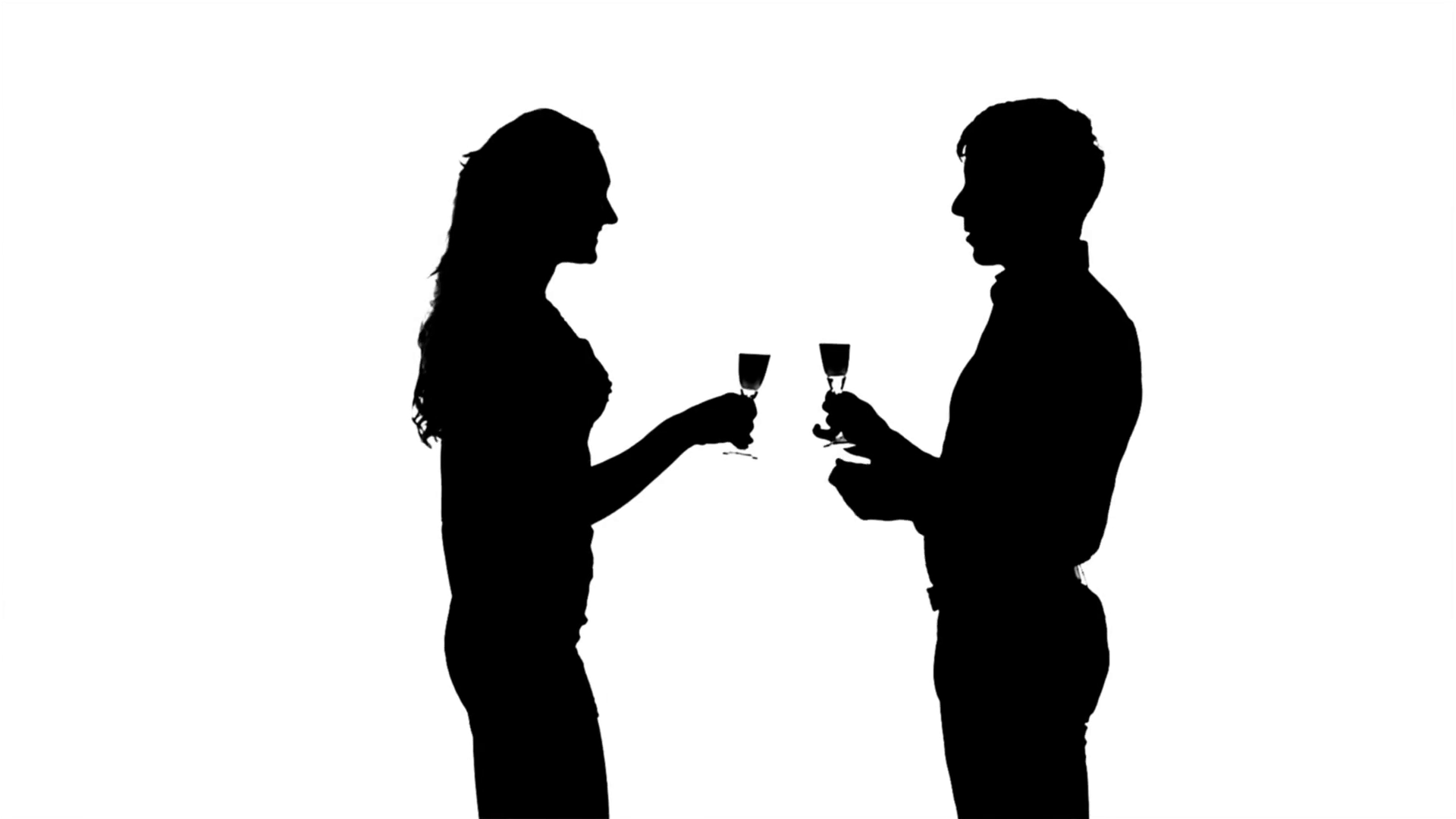 1920x1080 One Couple Man And Woman Drinking Wine. Slow Motion Stock Video