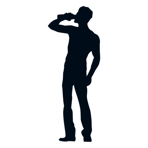 512x512 Man Drinking Silhouette Side View