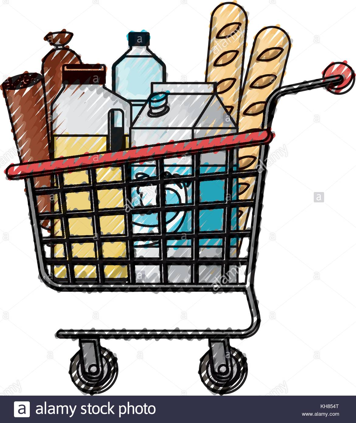 1171x1390 Supermarket Shopping Cart With Foods Sausage Bread And Drinks