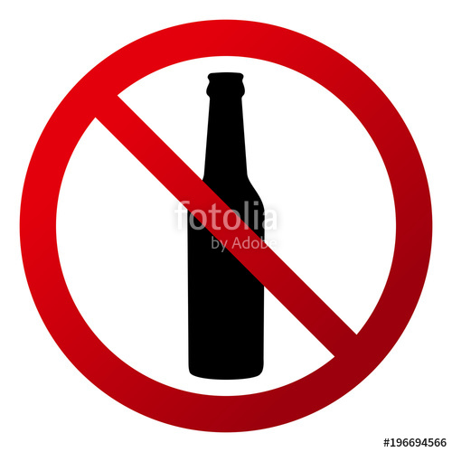 500x500 Circular, Drinks Are Not Allowed Sign. Red Gradient Sign, Bottle