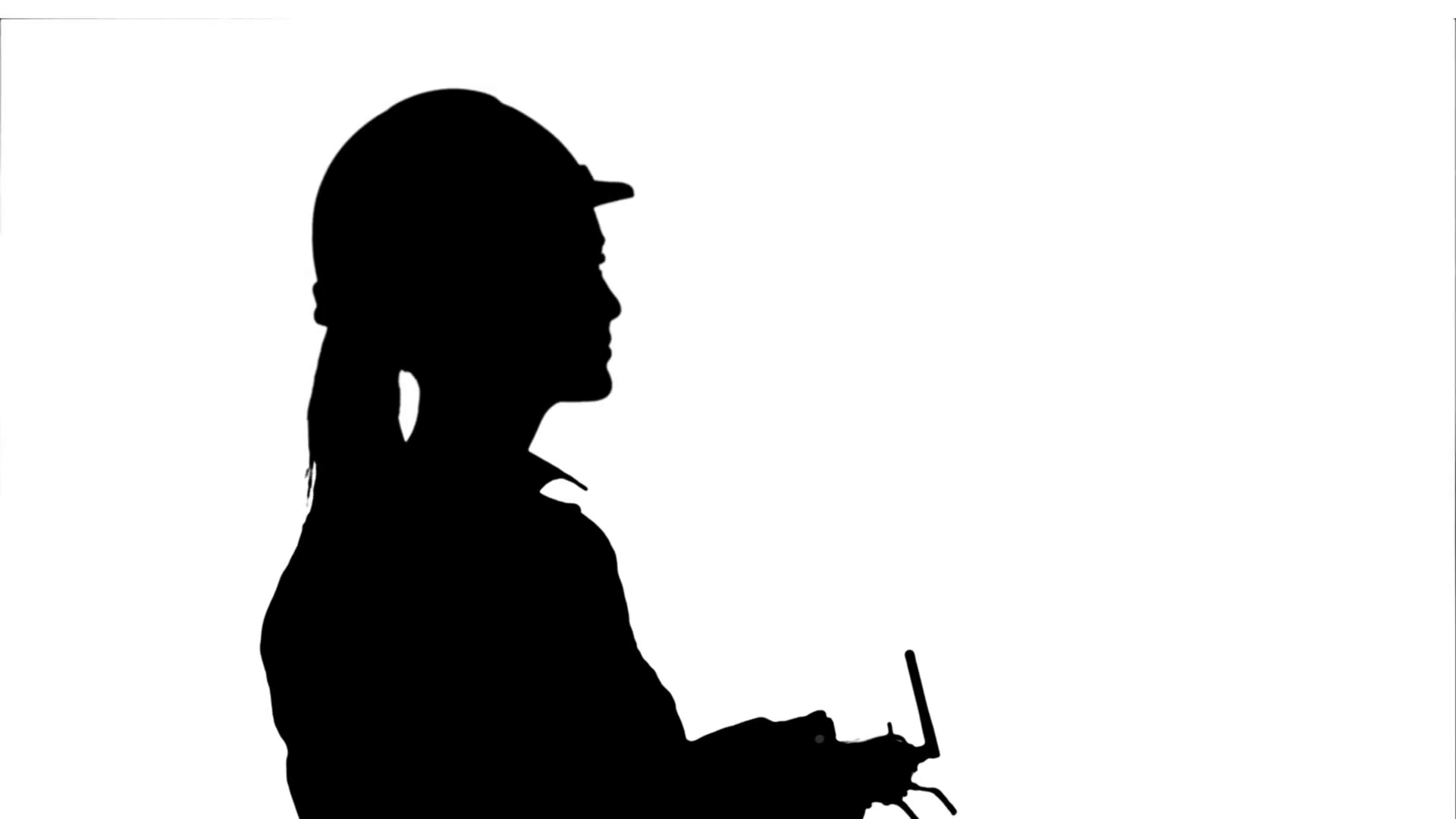 1920x1080 Silhouette Female Engineer Operating A Drone Analyzing Object