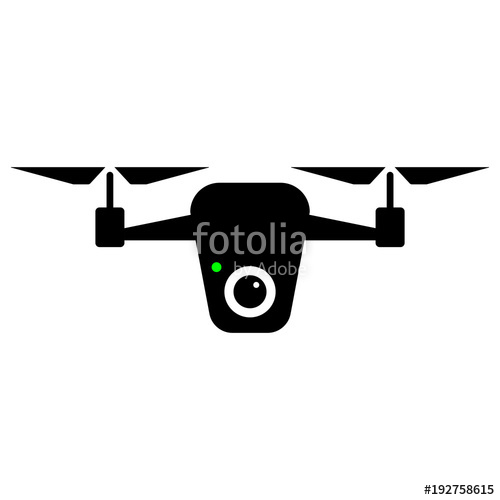 500x500 Simple, Flat Drone Silhouette Icon. Black And White Illustration