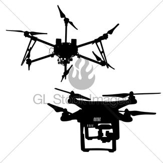 325x325 Black Set Silhouette Drone Quadrocopter On White Background Gl