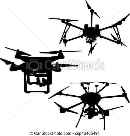 450x468 Black Set Silhouette Drone Quadrocopter On White Background. Eps