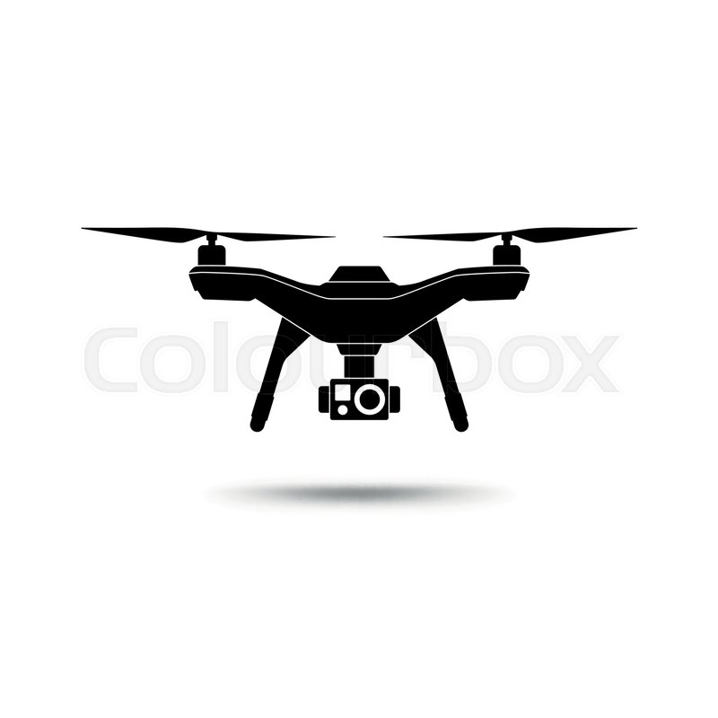800x800 Drone Icon. Copter Or Quadcopter With Camera Isolated On White