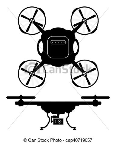 384x470 Silhouette Drones With Remote Control. Eps 10 Vector Clipart
