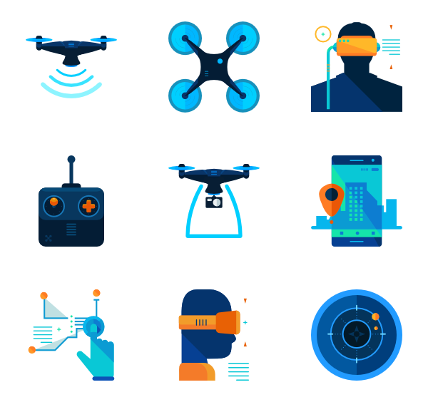 600x564 Drone Icons
