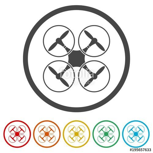 500x500 Drone Icon, Silhouette Quadrocopter A Top View Icon, 6 Colors
