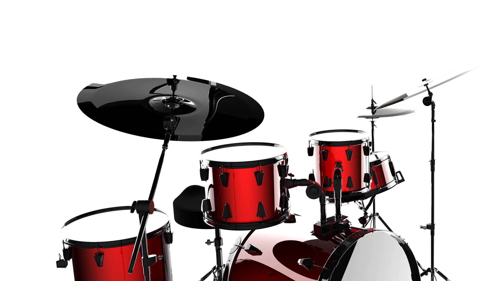 1920x1080 Drum Set On White Background Motion Background
