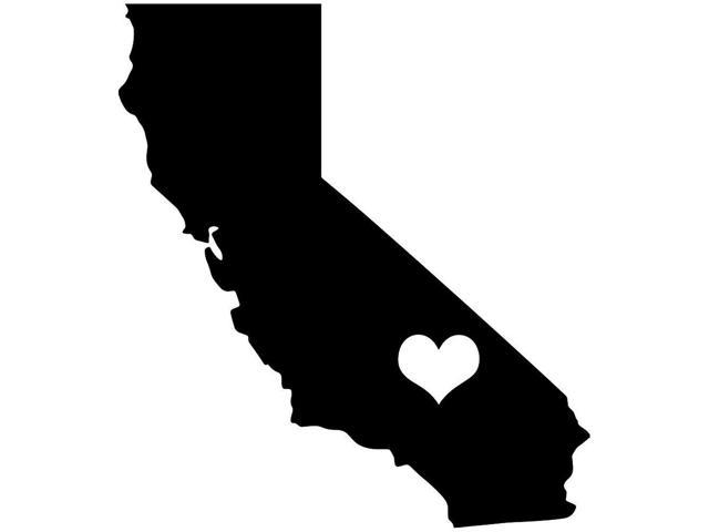 640x480 California State Love Silhouette With Heart 5 Orange Vinyl Decal