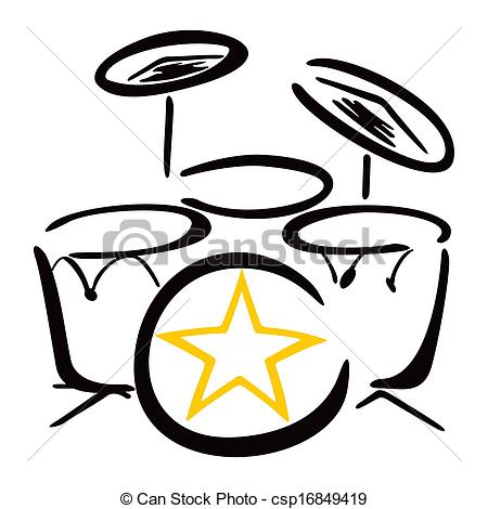 450x470 Set For Drummer. Drum Kit Drawing On White Background Vector Clip