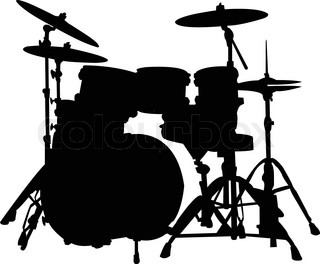 320x264 Silhouette Of Drummer Playing Drums On Black Background Vector