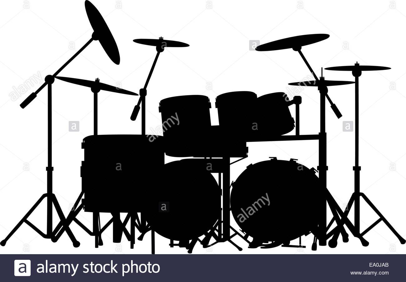1300x902 Vector Drum Kit Silhouette On White Background Stock Vector Art