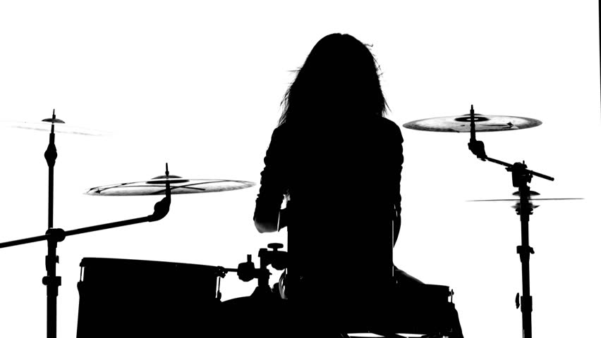 852x480 Drummer Vigorously Plays The Drums, Her Wand. White Background