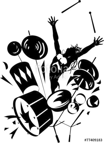 366x500 Rock Drummer Silhouette Stock Image And Royalty Free Vector Files