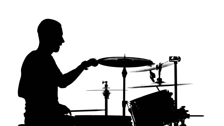 852x480 Silhouette Of The Drummer And Drums Stock Footage Video 24291689