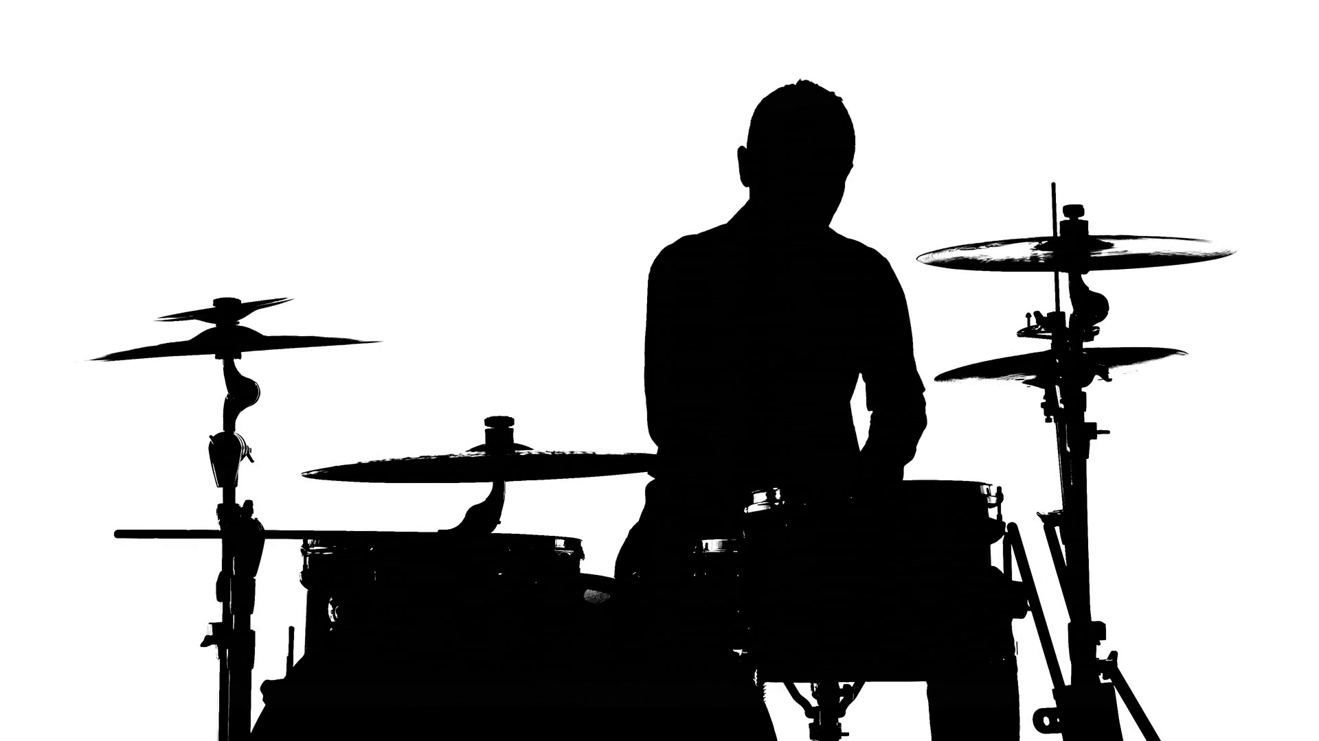 1920x1080 Silhouette Of The Drummer And Drums Stock Video Footage