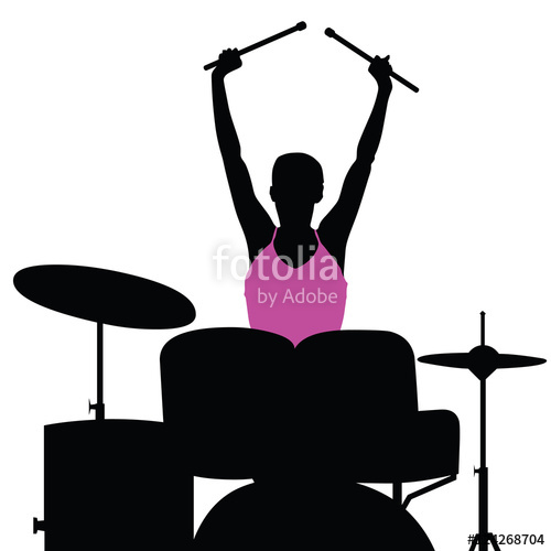 500x500 Girl Pretty Playnig Drum Silhouette Illustration Stock Image