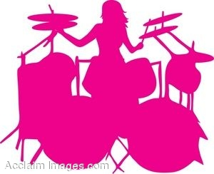 300x244 Clip Art Of The Silhouette Of A Female Drummer